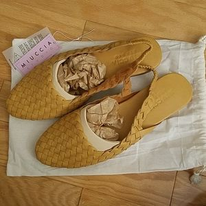 Handmade Leather Basketwoven Mule Slingbacks Sz 12